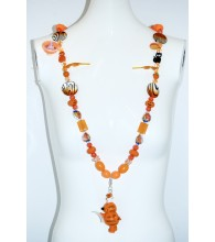 Assorted Flavor Curious Orange Kitty Necklace